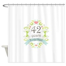 42nd Anniversary flowers and hearts Shower Curtain
