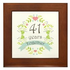41st Anniversary flowers and hearts Framed Tile