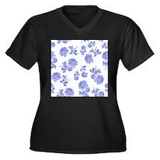 Blue Roses on white Plus Size T-Shirt