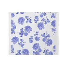 Blue Roses on white Throw Blanket