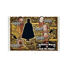 Jack the Ripper Victim Map Orange Rectangle Magnet