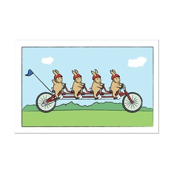 Bunny Bicycle Mini Poster Print