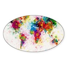World Map Paint Splashes Decal
