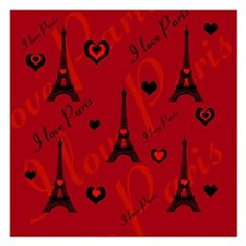 Trendy Black and Red I LOVE PARIS Invitations