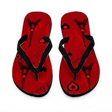 Trendy Black and Red I LOVE PARIS Flip Flops