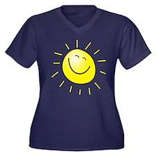 Smiling Sun Women's V-Neck Dark Plus Size T-Shirt