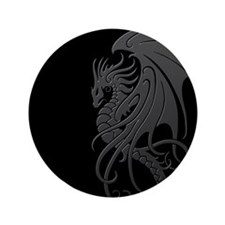 "Flying Tribal Gray Dragon 3.5"" Button (100 pack)"