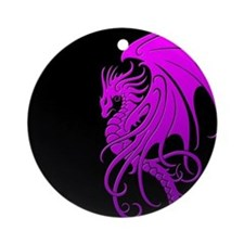 Flying Tribal Purple Dragon Ornament (Round)
