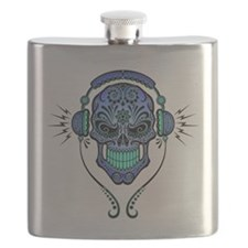 DJ Sugar Skull Blue Flask