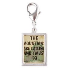 John Muir Mountains Silver Portrait Charm