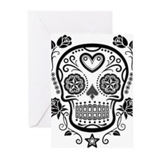 Black Sugar Skull with Roses Greeting Cards
