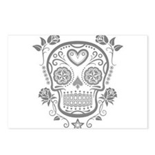 Gray Sugar Skull with Roses Postcards (Package of