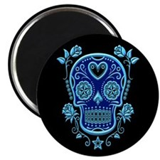 Blue Sugar Skull with Roses on Black Magnets