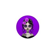 Sad Day of the Dead Girl Purple Mini Button (100 p
