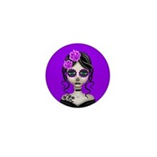 Sad Day of the Dead Girl Purple Mini Button (10 pa