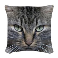 Main Coon Kitty Cat Woven Throw Pillow