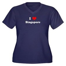 I Love Singapore Women's Plus Size V-Neck Dark T-S