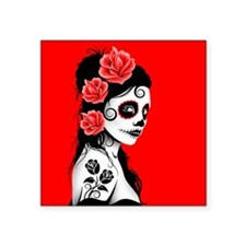 Day of the Dead Girl Red Sticker