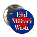 End Military Waste Political Button