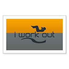 I Work Out Orange Grey Logo Decal