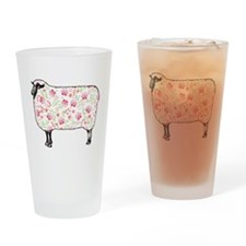 Floral Sheep Drinking Glass