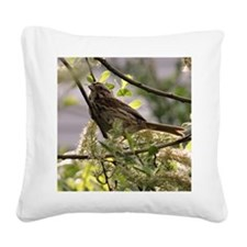Sparrow in the Morning Sun Square Canvas Pillow