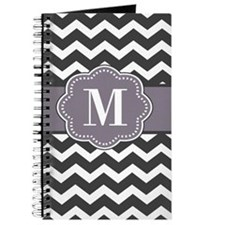 Gray Plum Chevron Monogram Journal