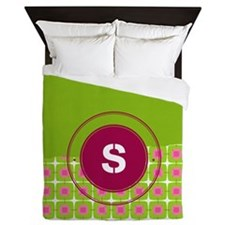 Green And Pink Personalizable Queen Duvet