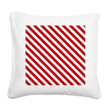 Red and White Striped Square Canvas Pillow