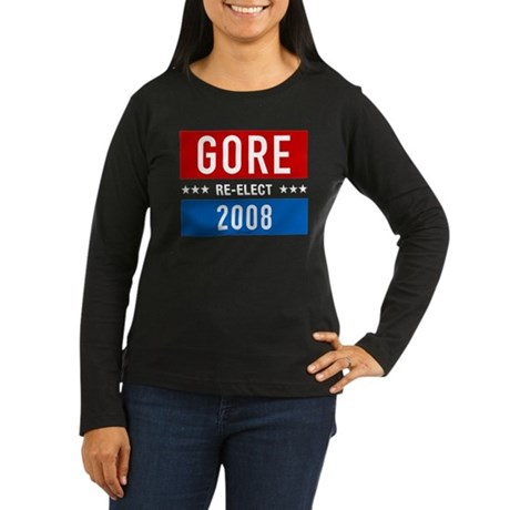 Re-elect Al Gore Womens Long Sleeve Black Tee