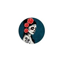 Day of the Dead Girl Blue Mini Button
