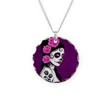 Day of the Dead Girl Purple Necklace