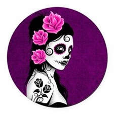 Day of the Dead Girl Purple Round Car Magnet