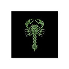 Intricate Green Tribal Scorpion on Black Sticker