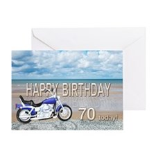 70th birthday card with a motor bike Greeting Card