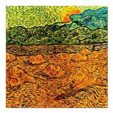 "Van Gogh - Evening Lands Square Car Magnet 3"" x 3"""