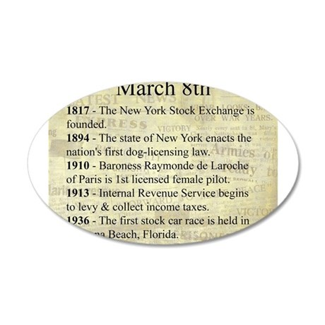 March 8th 20x12 Oval Wall Decal