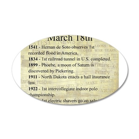 March 18th 20x12 Oval Wall Decal