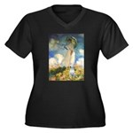 Umbrella & Bull Terrier Women's Plus Size V-Neck D
