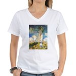 Umbrella & Bull Terrier Women's V-Neck T-Shirt