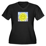 Solar Flare Women's Plus Size V-Neck Dark T-Shirt