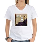 Mom's Bull Terrier (#1) Women's V-Neck T-Shirt