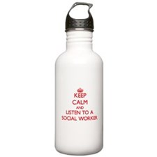 Keep Calm and Listen to a Social Worker Water Bott