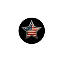 American Flag Star Black Mini Button (10 pack)