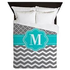 Gray Blue Chevron Monogram Queen Duvet