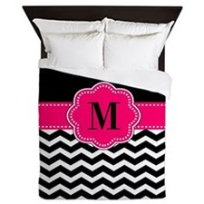 Pink Black Chevron Monogram Queen Duvet