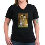 The Kiss & Bull Terrier Women's V-Neck Dark T-Shir