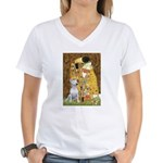 The Kiss & Bull Terrier Women's V-Neck T-Shirt