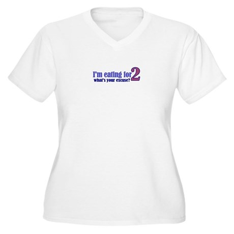 Eating For 2 Women's Plus Size V-Neck T-Shirt
