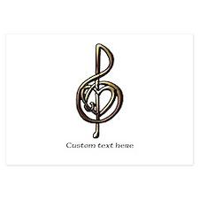 Customize this Metallic Musical Treble Clef Invita